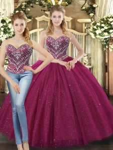 Custom Made Fuchsia Tulle Lace Up Quinceanera Dresses Sleeveless Floor Length Beading