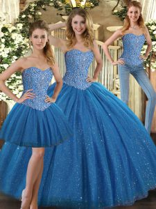 Customized Floor Length Ball Gowns Sleeveless Teal Sweet 16 Quinceanera Dress Lace Up