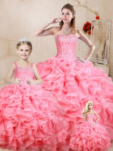 Beading and Ruffles Quince Ball Gowns Watermelon Red Lace Up Sleeveless Floor Length