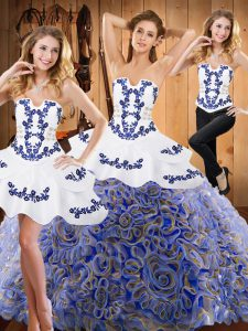Multi-color Strapless Lace Up Embroidery 15 Quinceanera Dress Sweep Train Sleeveless
