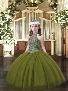 Beauteous Sleeveless Beading Lace Up Little Girl Pageant Dress