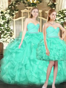High Quality Turquoise Ball Gowns Tulle Sweetheart Sleeveless Ruffles Floor Length Lace Up Quince Ball Gowns