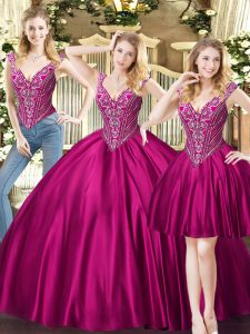 Gorgeous V-neck Sleeveless Lace Up Quince Ball Gowns Fuchsia Tulle
