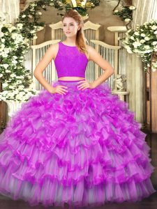 Fitting Fuchsia Tulle Zipper Scoop Sleeveless Floor Length Ball Gown Prom Dress Ruffled Layers