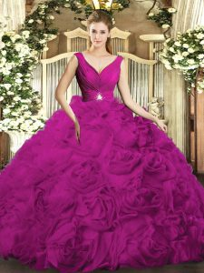 Fuchsia Backless Quinceanera Dress Beading and Ruching Sleeveless Floor Length