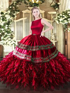 Wine Red Satin and Organza Clasp Handle Quinceanera Dresses Sleeveless Floor Length Ruffled Layers