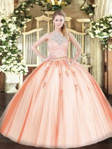 Flare Lace and Appliques 15th Birthday Dress Orange Zipper Sleeveless Floor Length