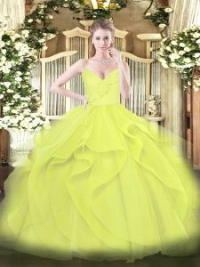 Yellow Green and Yellow Spaghetti Straps Neckline Ruffles and Ruching Quince Ball Gowns Sleeveless Zipper