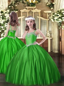 Trendy Beading Kids Formal Wear Green Lace Up Sleeveless Floor Length