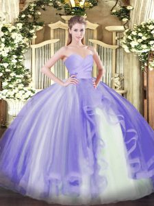 Tulle Sweetheart Sleeveless Lace Up Ruffles 15 Quinceanera Dress in Lavender