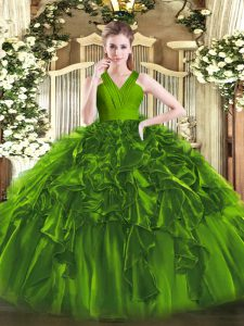 Cheap Organza Sleeveless Floor Length Quinceanera Gowns and Ruffles