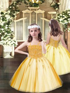 Orange Tulle Lace Up Spaghetti Straps Sleeveless Floor Length Kids Formal Wear Beading