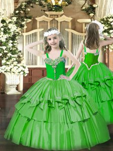 Latest Green Sleeveless Organza Lace Up Little Girls Pageant Dress for Party and Quinceanera