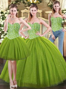 Attractive Sweetheart Sleeveless Lace Up Ball Gown Prom Dress Olive Green Tulle