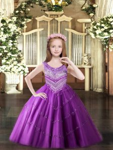 Custom Designed Lilac Sleeveless Floor Length Beading Lace Up Kids Formal Wear