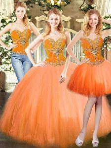 Customized Tulle Sleeveless Floor Length Sweet 16 Dresses and Beading