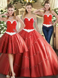 Sweetheart Sleeveless Quinceanera Gowns Floor Length Beading Coral Red Tulle