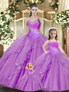 Lilac Lace Up Sweet 16 Dresses Beading and Ruching Sleeveless Floor Length