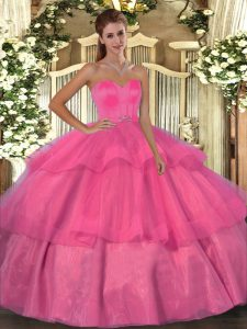 Luxury Hot Pink Ball Gowns Organza Sweetheart Sleeveless Beading and Ruffled Layers Floor Length Lace Up Vestidos de Quinceanera