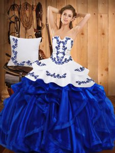 Luxurious Blue Sleeveless Embroidery and Ruffles Floor Length Quinceanera Dress