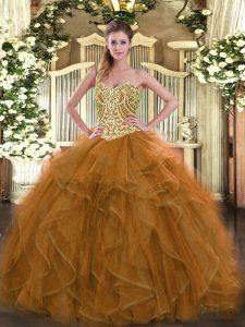 Beauteous Brown Sweetheart Lace Up Beading Ball Gown Prom Dress Sleeveless
