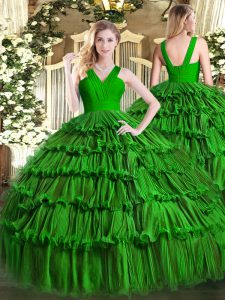Dark Green Ball Gowns Ruffled Layers 15 Quinceanera Dress Zipper Organza Sleeveless Floor Length