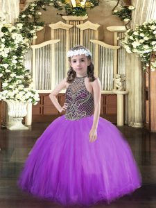 Eggplant Purple Ball Gowns Beading Custom Made Pageant Dress Lace Up Tulle Sleeveless Floor Length