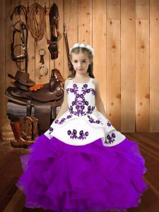 Custom Made Eggplant Purple Lace Up Little Girl Pageant Gowns Embroidery and Ruffles Sleeveless Floor Length