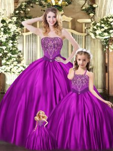 Fantastic Eggplant Purple Lace Up Strapless Beading Quinceanera Gown Organza Sleeveless