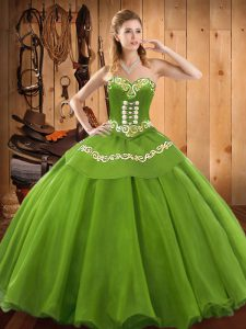 Satin and Tulle Sweetheart Sleeveless Lace Up Embroidery Ball Gown Prom Dress in Green