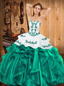 Pretty Strapless Sleeveless Ball Gown Prom Dress Floor Length Embroidery and Ruffles Turquoise Satin and Organza