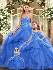 Unique Sweetheart Sleeveless Organza Quinceanera Gown Beading and Ruffles Lace Up