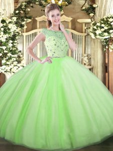 Inexpensive Ball Gowns 15 Quinceanera Dress Yellow Green Bateau Tulle Sleeveless Floor Length Zipper