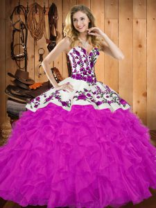Hot Sale Embroidery and Ruffles Vestidos de Quinceanera Fuchsia Lace Up Sleeveless Floor Length