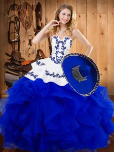High Class Blue Ball Gowns Embroidery and Ruffles Vestidos de Quinceanera Lace Up Satin and Organza Sleeveless Floor Length