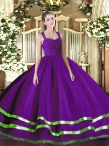 Floor Length Zipper Sweet 16 Quinceanera Dress Purple for Sweet 16 and Quinceanera with Beading and Ruffled Layers