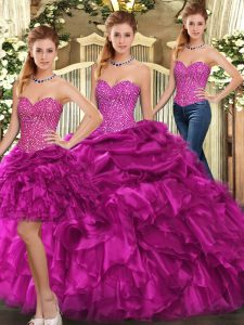 Customized Sweetheart Sleeveless Lace Up Vestidos de Quinceanera Fuchsia Organza