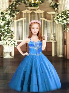 Tulle Sleeveless Floor Length Pageant Gowns For Girls and Beading