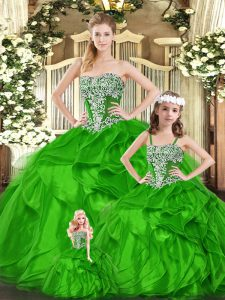 New Arrival Green Ball Gowns Beading and Ruffles Ball Gown Prom Dress Lace Up Organza Sleeveless Floor Length
