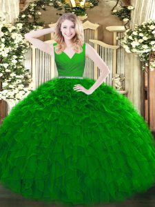 Green Sleeveless Beading and Ruffles Floor Length Vestidos de Quinceanera