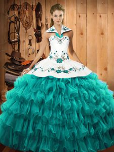 Decent Halter Top Sleeveless Lace Up Quinceanera Gowns Turquoise Organza