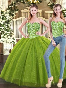 Modest Olive Green Ball Gowns Sweetheart Sleeveless Tulle Floor Length Lace Up Beading Vestidos de Quinceanera