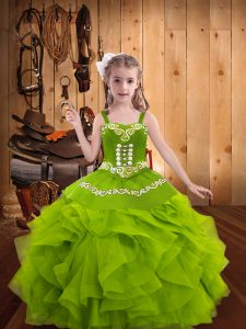 Excellent Olive Green Sleeveless Embroidery and Ruffles Floor Length Winning Pageant Gowns