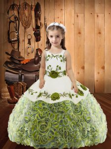 Excellent Multi-color Fabric With Rolling Flowers Lace Up Pageant Gowns Sleeveless Floor Length Embroidery and Ruffles