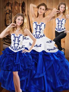 Artistic Blue Three Pieces Strapless Sleeveless Satin and Organza Floor Length Lace Up Embroidery and Ruffles Quinceanera Gowns