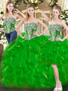 Lovely Sweetheart Sleeveless Organza Quinceanera Dress Beading and Ruffles Lace Up