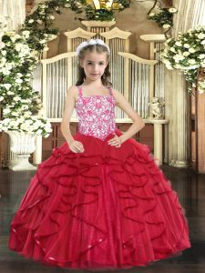 Tulle Sleeveless Floor Length Little Girls Pageant Dress and Beading and Ruffles