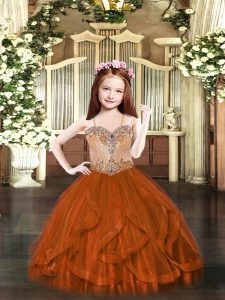Custom Design Spaghetti Straps Sleeveless Pageant Gowns Floor Length Beading and Ruffles Rust Red Tulle