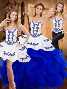 Sleeveless Satin and Organza Floor Length Lace Up Quinceanera Gown in Blue with Embroidery and Ruffles