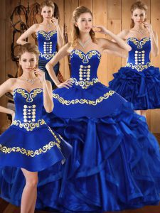 Clearance Floor Length Royal Blue Quinceanera Gown Sweetheart Sleeveless Lace Up